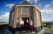 """Netherlands, Little chapel at former island Schokland near Nagele. Nowadays Schokland is part of the mainland of Flevoland and an UNESCO Heritage site.  It used to be an island in the former sea """"Zuiderzee"""" nowadays the IJsselmeer lake.."""