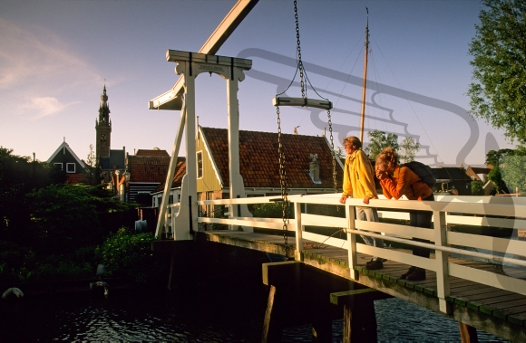Couple standing on a drawbridge