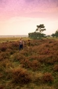 Couple hiking through the heather