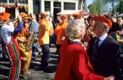 Celebrating Queensday (30th of April) at the Prinsengracht in Amsterdam