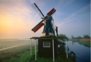Miller standing behind his windmill