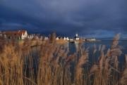 Dark clouds over the village of Durgerdam near Amsterdam