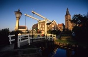 wooden drawbridge on former island Marken
