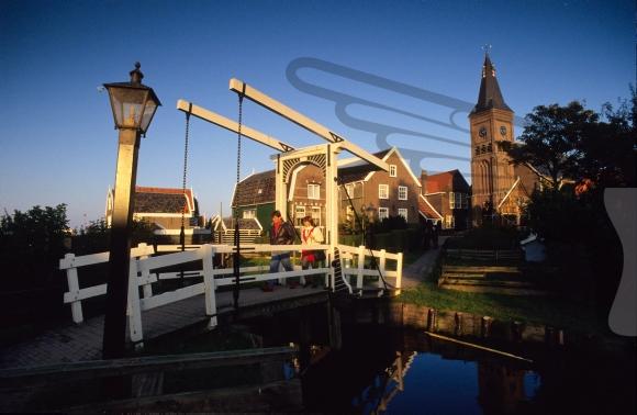 wooden drawbridge on former island Marken