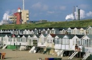 Small beach cottages at IJmuiden beach