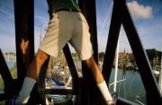 Italian tourist climbing on the lighthouse