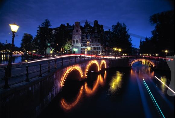 Illuminated bridge over a canal