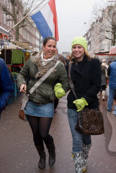 Girls posing at the  Albert Cuyp market