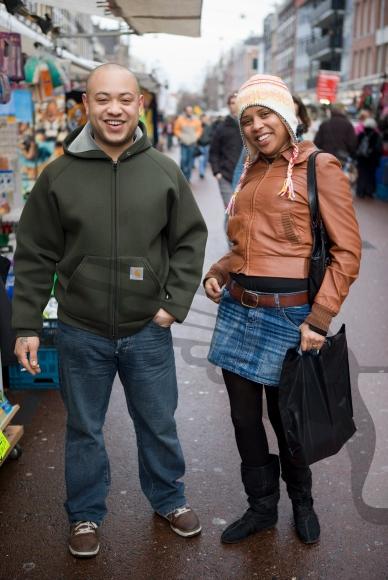 Couple posing at the  Albert Cuyp market