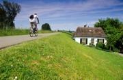Man cycling on a dyke