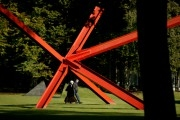 Red sculpture called 'K-piece'