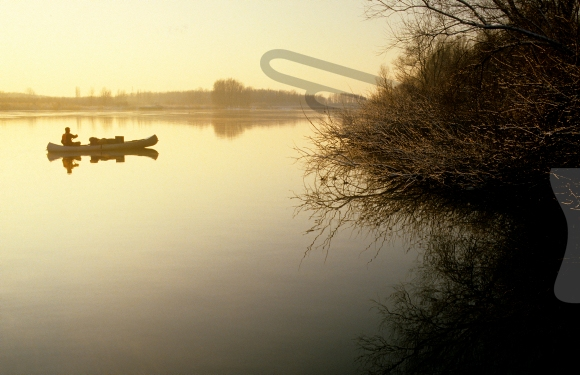Canoeist canoe over the water of the Biesbosch